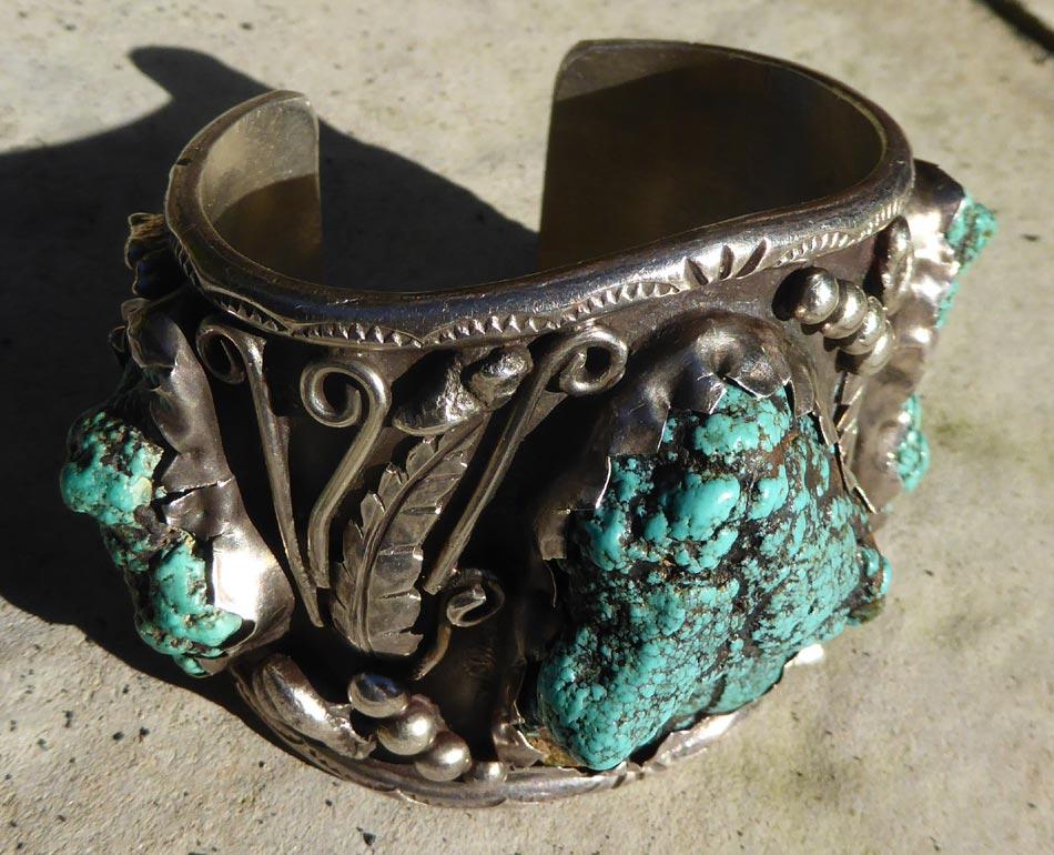 Native American Navajo Vintage Silver Amp Turquoise Large Bracelet Pawn ⋆ Copper Shield Tribal Art