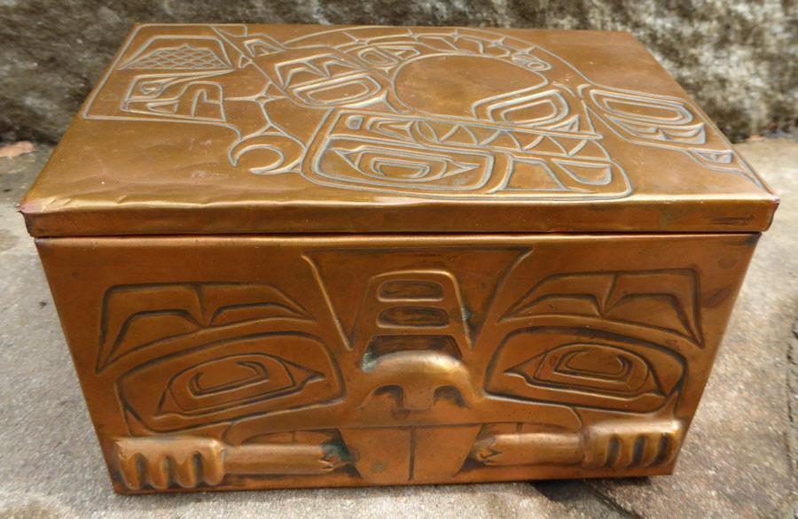 Northwest Coast Vintage Totemic Copper Box ⋆ Copper Shield